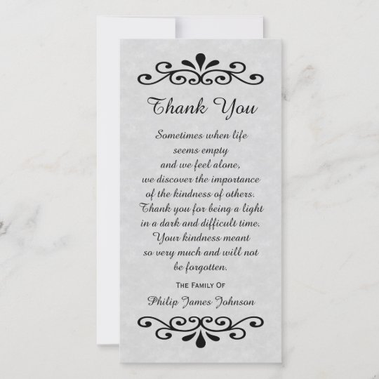 sympathy thank you photo card parchment look gray - Sympathy Thank You Cards