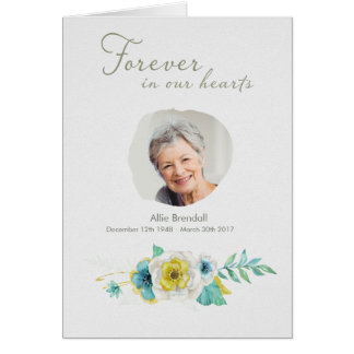 Sympathy Watercolor Flower Wreath Photo Thank You Card