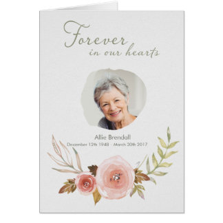 Sympathy Watercolor Wreath Thank You with Photo Card