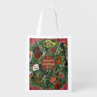 Symphony Instruments on Christmas Wreath Reusable Grocery Bag