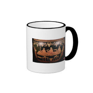 Symposium showing three men playing cottabos ringer mug