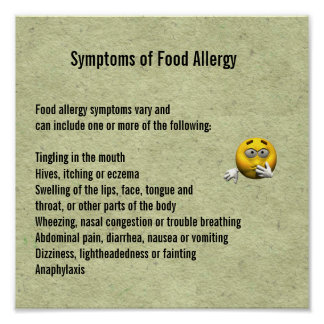 Symptoms of Food Allergy Poster