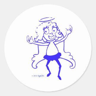 SymTell Blue Nice Dancer Classic Round Sticker