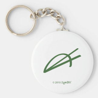 SymTell Green Enthusiastic Symbol Basic Round Button Keychain