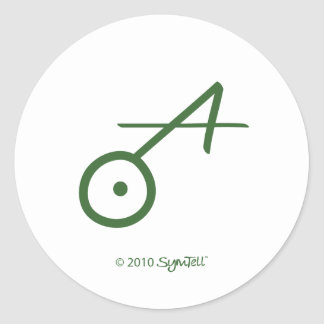 SymTell Green Spontaneous Symbol Classic Round Sticker