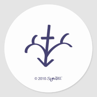 SymTell Purple Righteous Symbol Classic Round Sticker