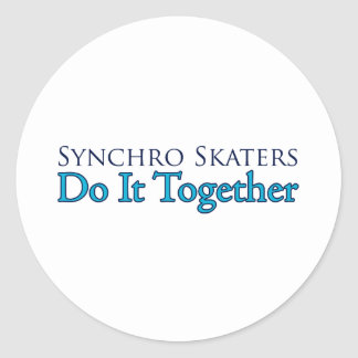 Synchro Skaters Do It Together Round Sticker