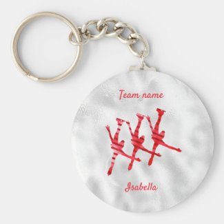Synchronized skating keychain line red