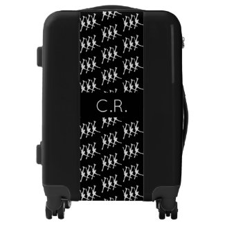 Synchronized skating luggage pattern black white