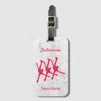 Synchronized skating luggage tag - Red arabesques