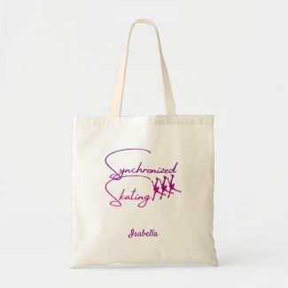 Synchronized skating tote bag calligraphy purple
