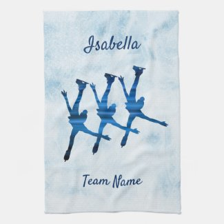 Synchronized skating towel arabesque blue