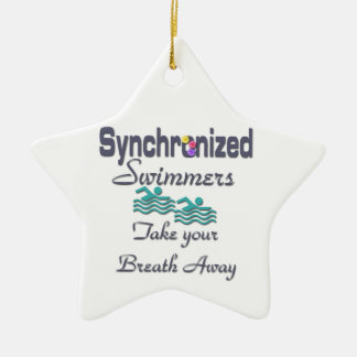 Synchronized swimmers Double-Sided star ceramic christmas ornament