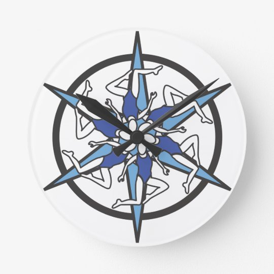 Synchronized Swimming Circle Logo in Blue Round Clock