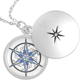 Synchronized Swimming Circle Logo in Blue Round Locket Necklace