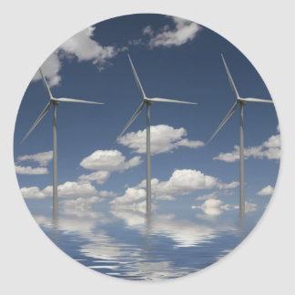 Syncronised Wind Turbines Classic Round Sticker
