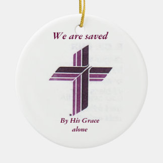 Synod Sross, By His Grace alone, We are saved Double-Sided Ceramic Round Christmas Ornament