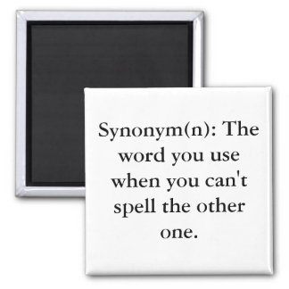 Synonym(n): The word you use when you can't spe... 2 Inch Square Magnet