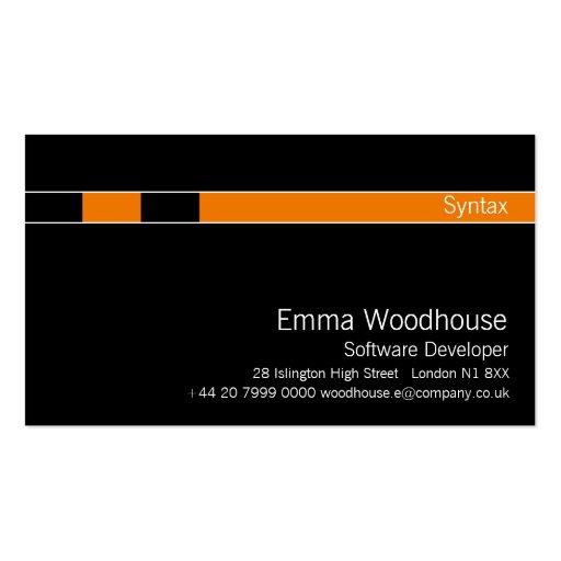 Syntax Black & Orange Business Card