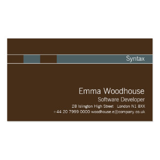 Syntax Chocolate Brown & Cadet Blue Business Cards