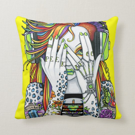 Synthea Psytrance DJ Rainbow Fairy Tattoo Pillow