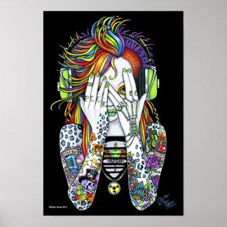 Synthea Psytrance Rainbow Peek A Boo Tattoo Poster