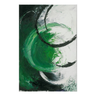 Synthesis - Green Abstract Expressionism Art Poster