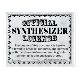Synthesizer License Postcard