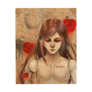Synthetic Beauty  Rose Red version Wood Wall Decor