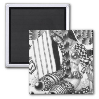 Synthetic Girl 2 Inch Square Magnet