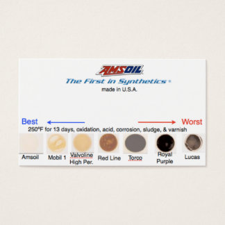 Synthetic oil comparison dots business card