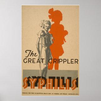 Syphilis Great Crippler Vintage WPA Health Poster
