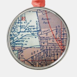 SYRACUSE, mapa del vintage de NY Adorno Redondo Plateado