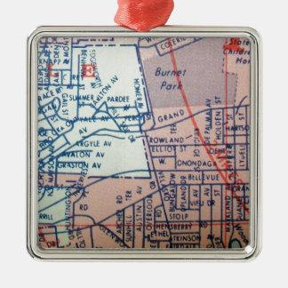 SYRACUSE, mapa del vintage de NY Adorno Cuadrado Plateado