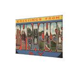 Syracuse, Nueva York - escenas grandes de la letra Lienzo Envuelto Para Galerias