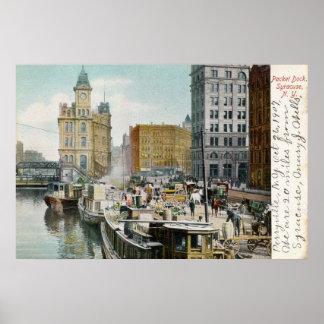 Syracuse, paquete Dock, vintage 1905 Posters