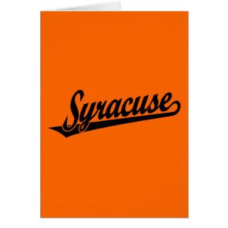 Syracuse script logo in black card
