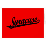 Syracuse script logo in black distressed card