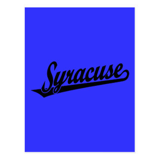 Syracuse script logo in black postcard