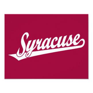Syracuse script logo in white card