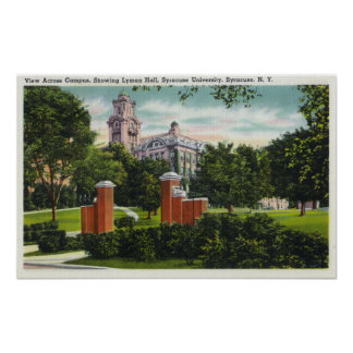 Syracuse U Campus View Showing Lyman Hall Print