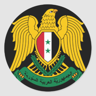syria coat of arms classic round sticker