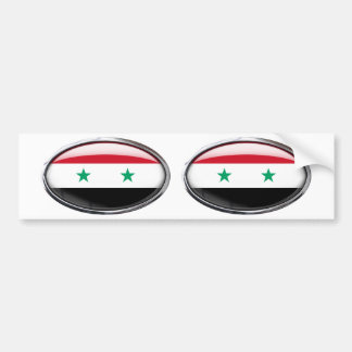 Syria Flag Glass Oval Bumper Stickers