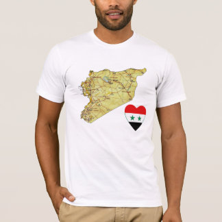 Syria Flag Heart and Map T-Shirt