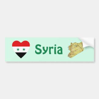 Syria Flag Heart + Map Bumper Sticker