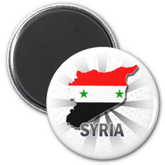 Syria Flag Map 2.0 2 Inch Round Magnet