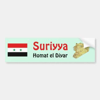 Syria Flag + Map Bumper Sticker