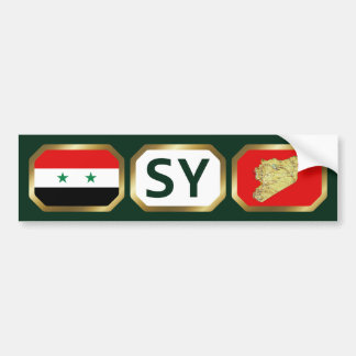 Syria Flag Map Code Bumper Sticker