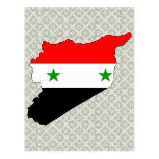 Syria Flag Map full size Post Cards