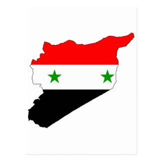 Syria flag map postcard